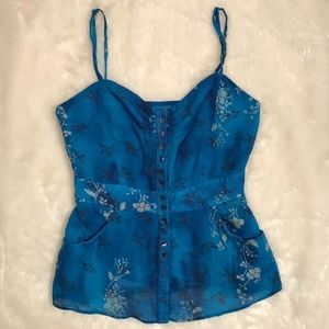 Free People Blue Floral Button Up Tank Top *flaw